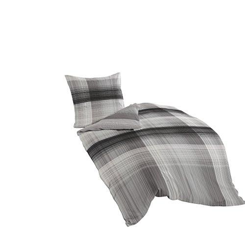 Bierbaum 6597_03 Mako-Satin-Bettwäsche Dessin 03, 135 x 200 / 80 x 80 cm, silber