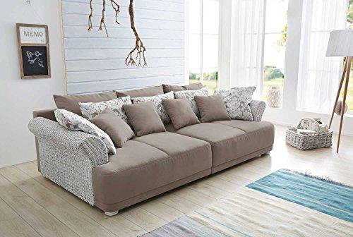 Big-Sofa, Mega-sofa, XXL-Sofa, Ultrasofa, Kuschelsofa, Sofa, Couch, greigen Flachgewebe, altweißem Rattan u. weiß-greigen Kissen, Kaltschaumpolsterung