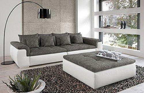 Big-Sofa-in-wei-grau-mit-Steppungen-4-groe-Rckenkissen-4-mittlere-und-4-kleine-Zierkissen-Mae-BHT-ca-31286133-cm-0