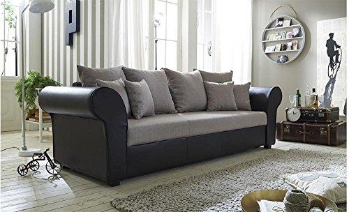 Big-Sofa-mit-Sitz-und-Kissen-bezogen-in-beigefarbenem-Webstoff-Korpus-bezogen-in-braunem-Kunstleder-Schlaffunktion-Mae-BHT-ca-2578590-cm-0