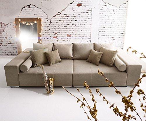 Bigsofa Marbeya Grau Braun 280x115 cm mit Zierkissen XXL Sofa