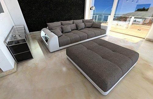 Bigsofa Miami graubraun - weiss Megasofa mit LED Beleuchtung Big Sofa