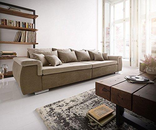 Bigsofa-Navin-Braun-Grau-275x116-cm-inklusive-Kissen-XXL-Sofa-0