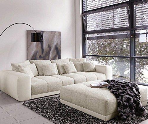 Bigsofa Valeska Grau Weiss 310x135 Couch mit Sitzhocker Big-Sofa