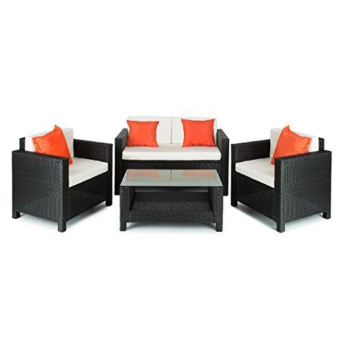 Blumfeldt-Verona-Lounge-Gartenmbel-Set-4-teilige-Sitzgruppe-Gartengarnitur-fr-4-Personen-2x-Sessel-1x-2-Sitzer-Couch-1x-Tisch-aus-Poly-Rattan-schwarz-beige-orange-0