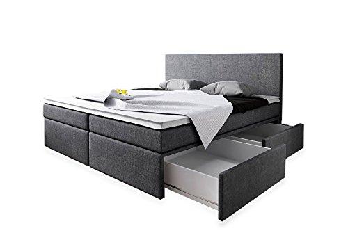 Boxspringbett 160x200 mit Bettkasten Grau Stoff Hotelbett Polsterbett Matratze Modell Roma (160 x 200)