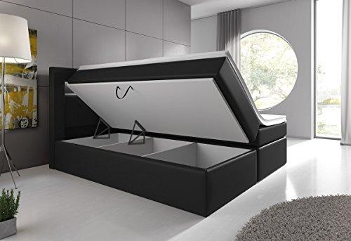 Boxspringbett 180x200 Schwarz mit Bettkasten LED Kopflicht Hotelbett Venedig Lift