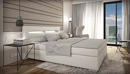 boxspringbett 180x200 wei led kopflicht t v gepr ft visco matratze kunstleder hotelbett. Black Bedroom Furniture Sets. Home Design Ideas