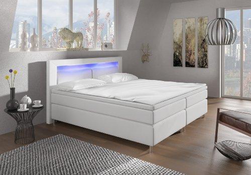 Boxspringbett 180x200 Weiß mit LED Beleuchtung und Chromleisten Hotelbett Doppelbett Polsterbett Ehebett amerikanisches Bett Chrom Modell Brüssel Typ 1 (180x200)
