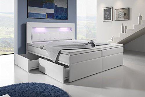Boxspringbett mit Bettkasten 160x200 Grau LED Kopflicht Glasstein Hotelbett Neapel