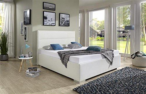 Breckle Polsterbett, Bett 140 x 200 cm Caplas Bavaria 38 cm Höhe Stärke 6 cm Bündig Leder Optik weiß