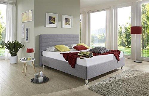 Breckle Polsterbett, Bett 140 x 200 cm Melbourne Bavaria 38 cm Höhe Stärke 6 cm Bündig Textil grün
