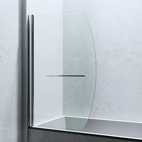 BxH: 94x140 cm Design Duschabtrennung Cortona112 für Badewanne, 6mm ESG-Sicherheitsglas Klarglas, inkl. Nanobeschichtung, Badewannenfaltwand, Duschwand