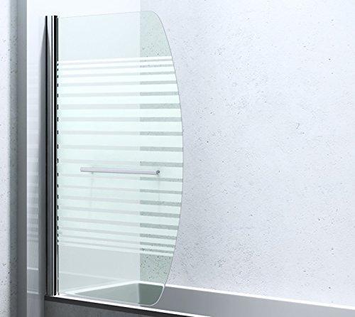 BxH: 94x140 cm Design Duschabtrennung / Duschwand für Ihre Badewanne Cortona112S, 6mm ESG-Sicherheitsglas teilsatiniert, inkl. Nano-Beschichtung