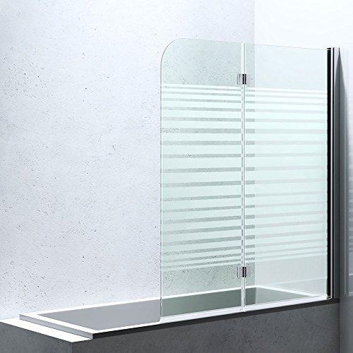 BxH:117x141 cm Duschabtrennung / Duschwand für Badewane aus Glas Cortona1408S-rechts, Wandanschlag rechts, inkl. Nanobeschichtung, Badewannenfaltwand