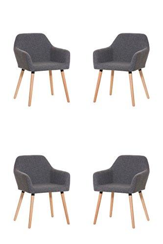 CLP 4 x Besucher-Stuhl ACHAT, Holzgestell, Stoffbezug, gut gepolsterter Sitzfläche, bis zu 4 Farben wählbar hellgrau
