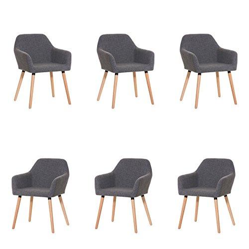 CLP 6x moderner Besucherstuhl ACHAT mit gut gepolsterter Sitzfläche aus Stoff und Holzgestell - aus bis zu 4 Farben wählen hellgrau
