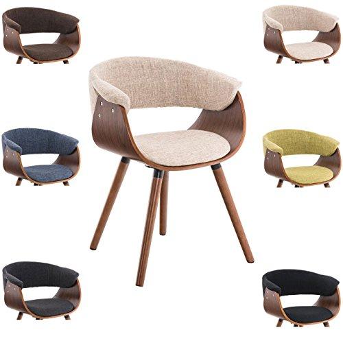 CLP Besucherstuhl PIRMA Stoff mit Holzgestell walnuss, Materialmix aus Stoff und Holz, bis zu 6 Farben wählbar creme