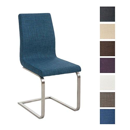 CLP Design Esszimmer-Stuhl BELFORT, Edelstahl Freischwinger Stuhl, Stoffbezug, FARBWAHL blau