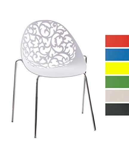 CLP Design Retro Stapelstuhl FAITH, Materialmix aus Kunststoff und Metall in Chromoptik, bis zu 6 Farben wählbar weiß