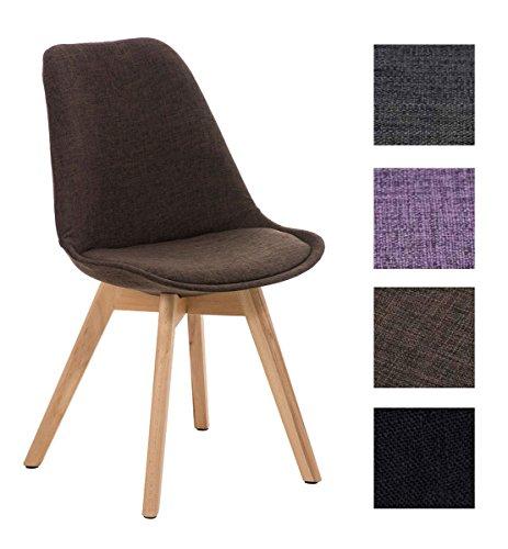 CLP Design Retro Stuhl BORNEO Stoff mit Holzgestell natura, Materialmix aus Stoff und Holz, bis zu 4 Farben wählbar braun