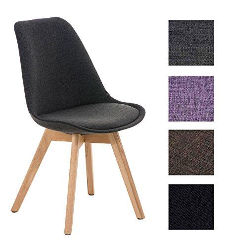 CLP Design Retro Stuhl BORNEO Stoff mit Holzgestell natura, Materialmix aus Stoff und Holz, bis zu 4 Farben wählbar dunkelgrau