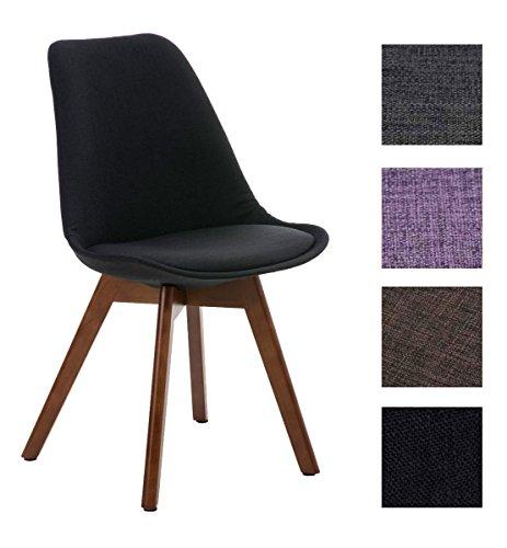 CLP Design Retro Stuhl BORNEO Stoff mit Holzgestell walnuss, Materialmix aus Stoff und Holz, bis zu 4 Farben wählbar schwarz