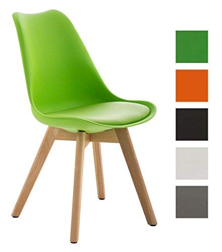CLP Design Retro Stuhl BORNEO mit Holzgestell natura, Materialmix aus Kunststoff, Kunstleder und Holz, bis zu 5 Farben wählbar grün