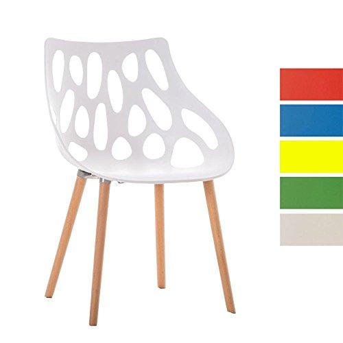 CLP Design Retro Stuhl HAILEY, Materialmix Kunststoff / Buchenholz, Sitzhöhe 44 cm, FARBWAHL weiß