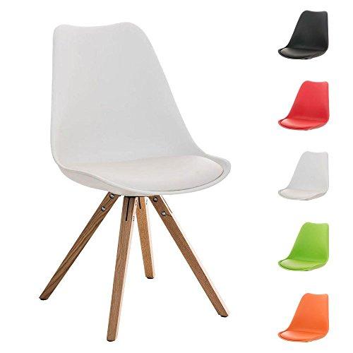 CLP Design Retro Stuhl PEGLEG SQUARE mit Holzgestell natura, Materialmix aus Kunststoff, Kunstleder und Holz, FARBWAHL weiß