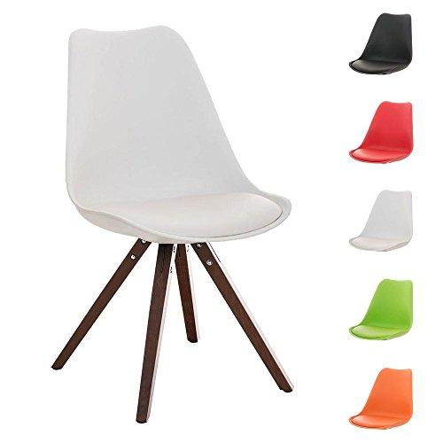 CLP Design Retro Stuhl PEGLEG SQUARE mit Holzgestell walnuss, Materialmix aus Kunststoff, Kunstleder und Holz, FARBWAHL weiß