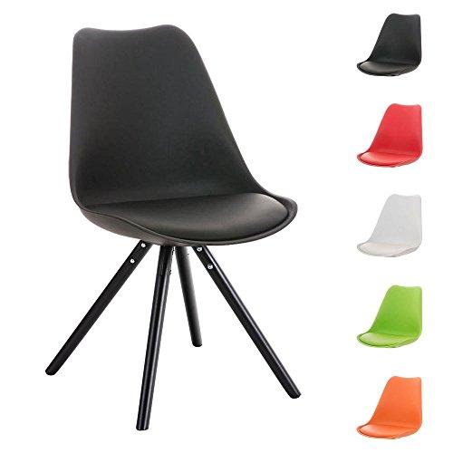 CLP Design Retro Stuhl PEGLEG mit Holzgestell schwarz, Materialmix aus Kunststoff, Kunstleder und Holz, FARBWAHL schwarz
