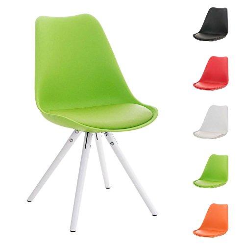 CLP Design Retro Stuhl PEGLEG mit Holzgestell weiß, Materialmix aus Kunststoff, Kunstleder und Holz, FARBWAHL grün
