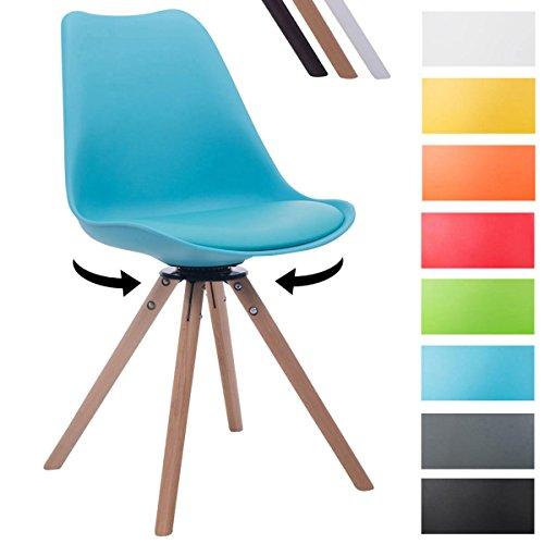 CLP Design Retro-Stuhl TROYES RUND mit Kunstlederbezug und hochwertiger Sitzfäche | 360° drehbarer Stuhl mit Schalensitz und massiven Holzbeinen | In verschiedenen Farben erhältlich