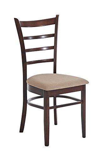 CLP Esszimmerstuhl LILLY, Holz-Stuhl mit pflegeleichtem Microfaserbezug, Gastronomie geeignet cappuccino/braun