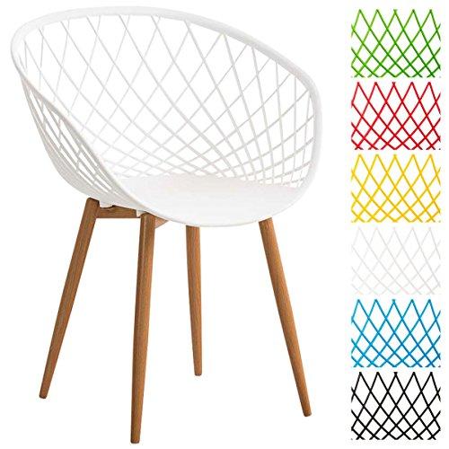 CLP Esszimmerstuhl MORA mit pflegeleichter Kunststoff-Sitzschale | Retrostuhl mit Lehne und einem Metallgestell in Holzoptik | Besucherstuhl mit Bodenschonern und einer Sitzhöhe von 46 cm