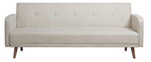 CLP Klapp-Sofa / Schlafsofa EBBA, Stoffbezug, ca. 200 x 80 cm, stilvolle Zierknöpfe, dicke Polsterung, Couch mit Liegefunktion, FARBWAHL weiß