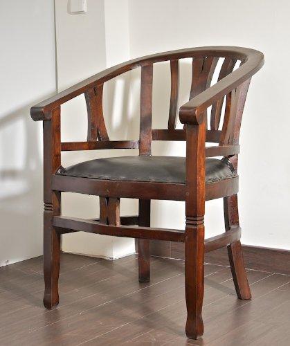 CLP Mahagoni Holz-Stuhl ERWIN mit Armlehne, gepolstert, mit Echt-Leder, handgefertigt, Kolonialstil, bis zu 4 Farben wählbar dunkelbraun