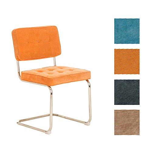 CLP Retro Freischwinger-Stuhl CHIVA Cordstoff Bezug - aus 4 Farben wählen orange