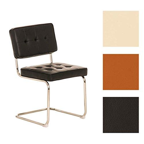 CLP Retro Freischwinger-Stuhl CHIVA Kunstleder Bezug - aus 3 Farben wählen schwarz