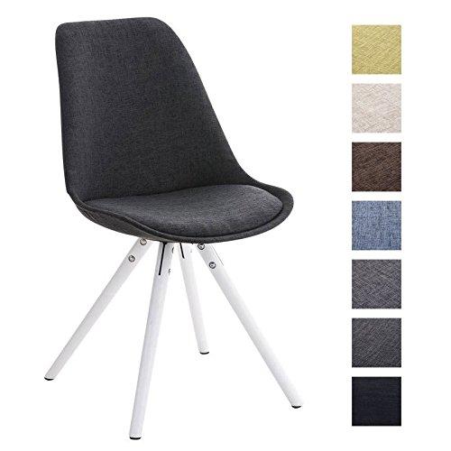 CLP Retro Stuhl PEGLEG mit Holzgestell weiß und Stoffsitz, Besucherstuhl im stilvollen Design, FARBWAHL dunkelgrau