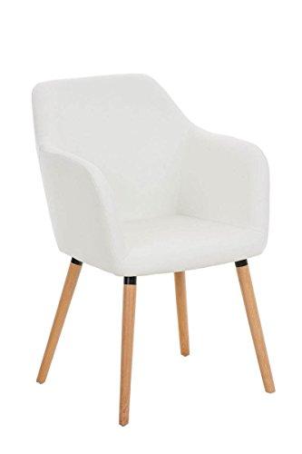 CLP moderner Besucher Design-Stuhl PICARD, Holzgestell, gut gepolsterter Sitzfläche, bis zu 5 Bezug-Farben wählbar weiß
