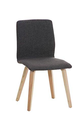 CLP moderner Besucher-Stuhl GRANAT, Polsterstuhl mit Holzgestell, Sitzfläche Stoff - aus bis zu 4 Farben wählen hellgrau