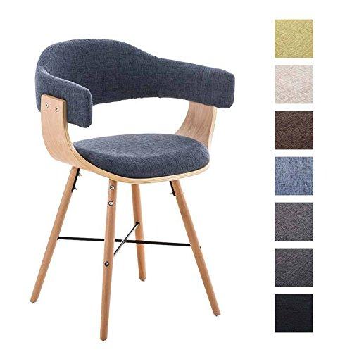 CLP moderner Besucherstuhl BARRIE V2 Stoff, natura, mit Armlehne & gut gepolsterter Sitzfläche und Holzgestell - aus bis zu 7 Farben wählen blau