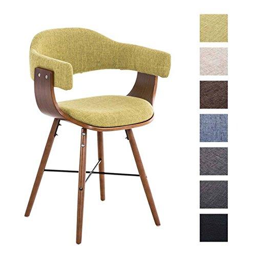 CLP moderner Besucherstuhl BARRIE V2 Stoff, walnuss, mit Armlehne & gut gepolsterter Sitzfläche und Holzgestell - aus bis zu 7 Farben wählen grün