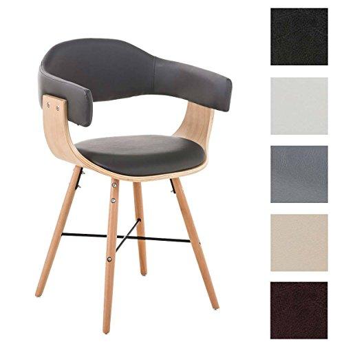 CLP moderner Besucherstuhl BARRIE V2, natura, mit Armlehne & gut gepolsterter Sitzfläche und Holzgestell - aus bis zu 5 Farben wählen grau