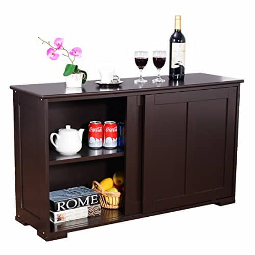 costway sideboard k chenschrank k chenkommode anrichte mehrzweckschrank mit schiebet ren braun. Black Bedroom Furniture Sets. Home Design Ideas