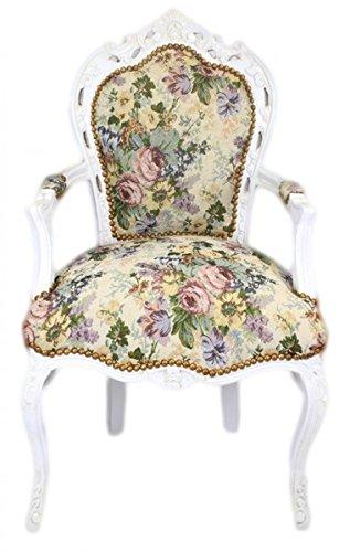 Casa Padrino Barock Esszimmer Stuhl mit Armlehnen Blumen Muster / Antik Weiss