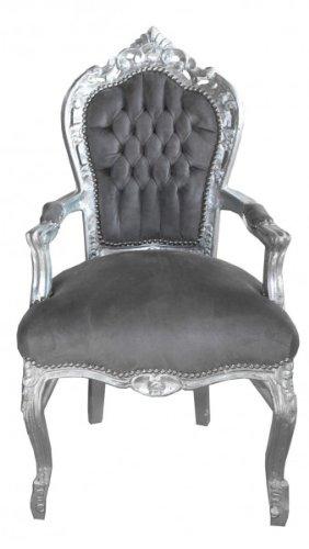 Casa Padrino Barock Esszimmer Stuhl mit Armlehnen Grau / Silber