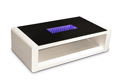 Cavadore Couchtisch Hutch / moderner, niedriger Tisch mit schwarzem Glas und LED-Beleuchtung / mit Ablage / Hochglanz Weiß / 120 x 60 x 35 cm (L x B x H)